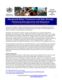 Household Water Treatment and Safe Storage Following Emergencies and Disasters,SOUTH ASIA EARTHQUAKE AND TSUNAMI