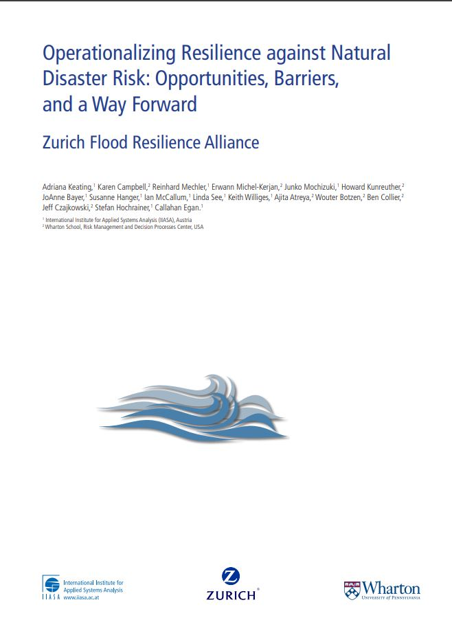 Operationalizing Resilience against Natural Disaster Risk: Opportunities, Barriers, and a Way Forward