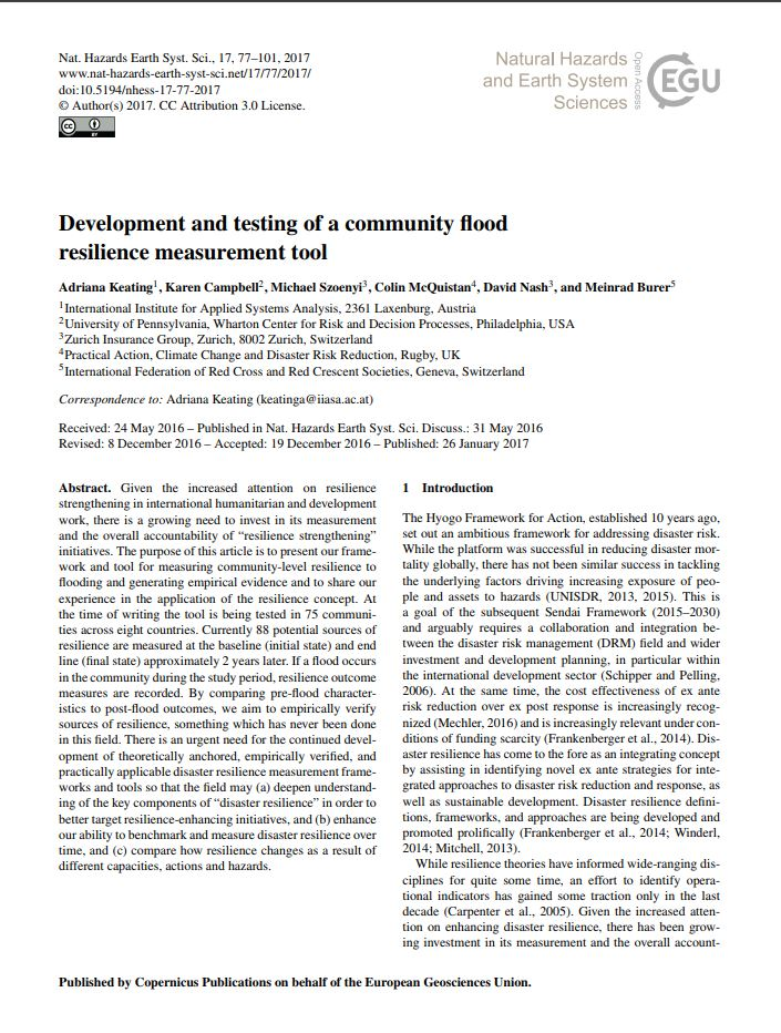 Development and testing of a community flood resilience measurement tool