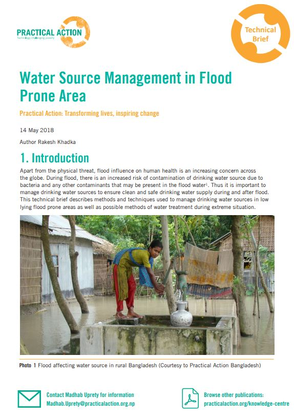 Water Source Management in Flood Prone Area